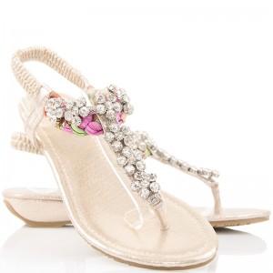 Biżuteryjne Sandały - Złote Japonki w Cyrkonie