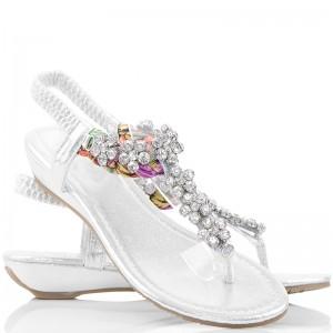 Biżuteryjne Sandały - Srebrne Japonki w Cyrkonie