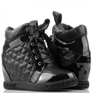 Pikowane Sneakersy Glamour - Satynowe Tasiemki