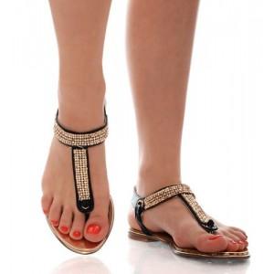 Kobiece Czarne Sandały - Połyskujące Paski