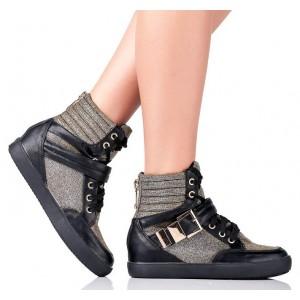 Stylowe Czarne Sneakers POŁYSKUJĄCE ZŁOTEM