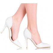 Białe Ślubne Czółenka Cut Out - Modny Szpic