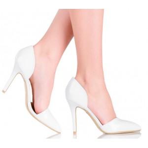 Białe Ślubne Czółenka Cut Out - Modny SzpicCzarne Sandały - Modnie Siateczkowe