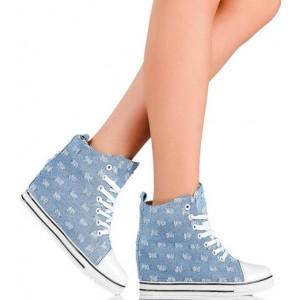 Sneakersy - Jasny Jeans - Modne Przetarcia