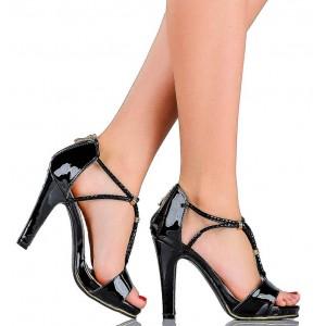 Klasyczne Sandały na Zgrabnym Obcasie - Cyrkonie